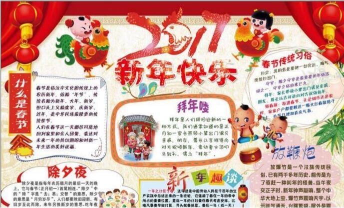 迎新年贺新喜,春节手抄报