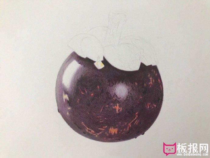 好看的彩铅画教程图解,山竹果彩铅画