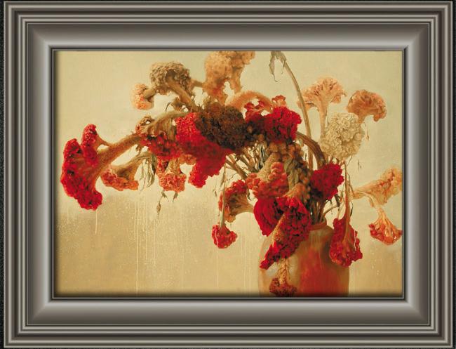 鸡冠花静物油画装饰画
