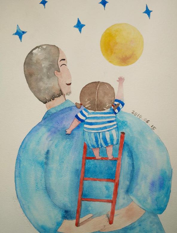 关于父亲节的绘画,感恩父亲节绘画