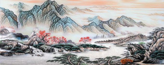 水墨山水壁画背景墙,花开牡丹