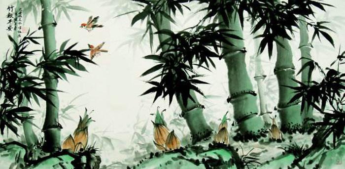 国画竹子,竹子与假山