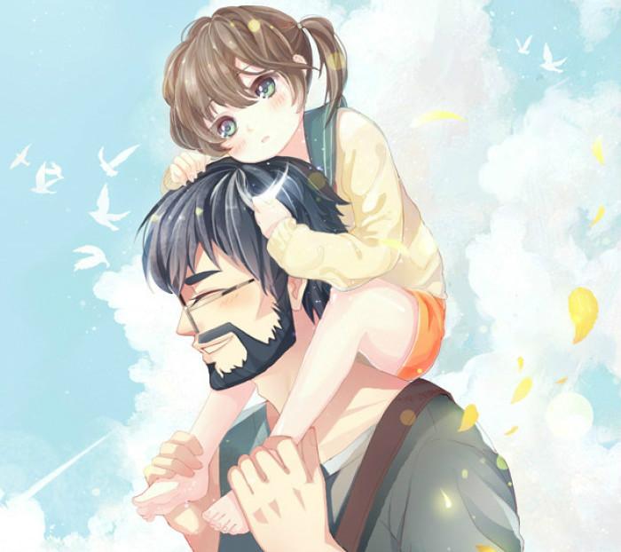 父亲节绘画作品:父爱如山父亲节图片