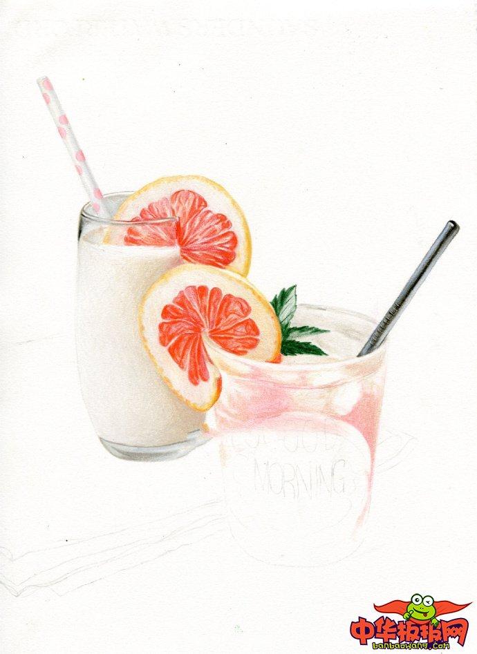 彩铅画教程步骤图,夏日西柚气泡水