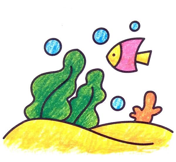 简单的风景简笔画图片,海底世界简笔画