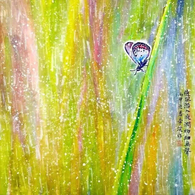 漂亮的水粉风景画图片,春江水暖鸭先知