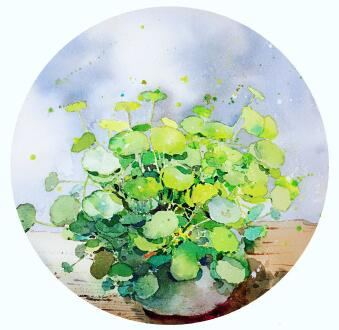 植物花卉水彩画教程步骤图,暖暖的向日葵水彩画