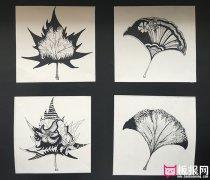 创意黑白树叶图案素材