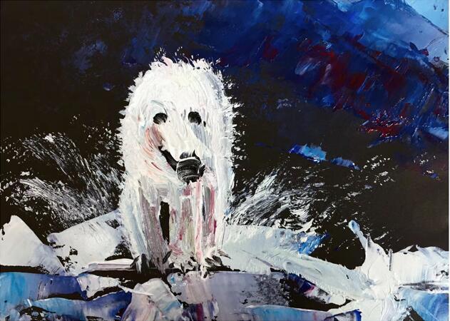 漂亮的水粉风景画,打雪仗