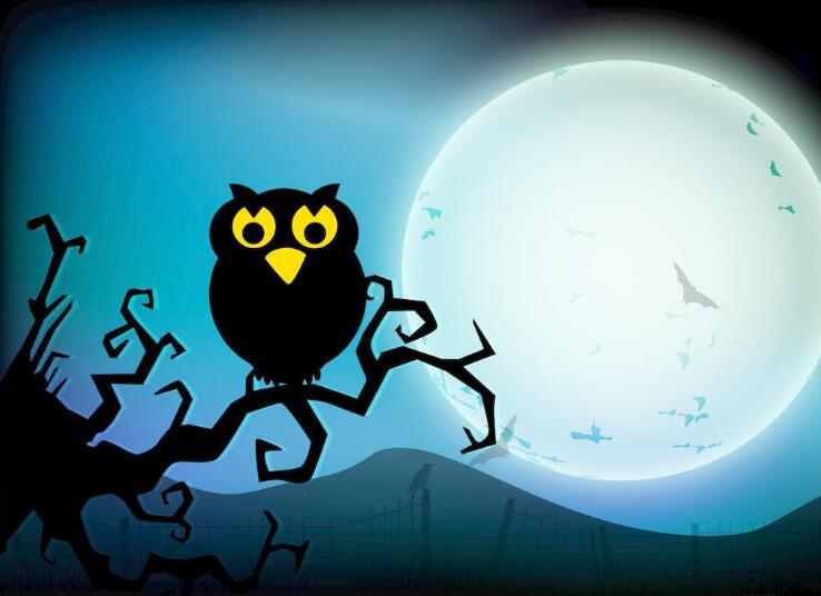 万圣节恐怖背景素材图片,幽灵和南瓜