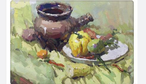 水粉静物写生作品,生活中的陶瓷瓦罐