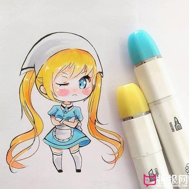 马克笔画q版人物萌图,萌图片大全可爱女孩