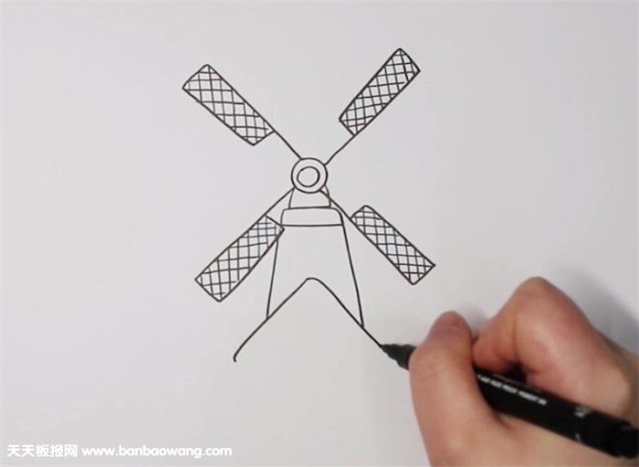 荷兰风车简笔画