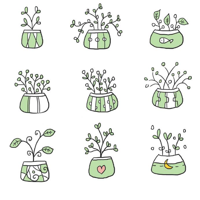 文艺小清新植物简笔画图片大全,儿童简笔画植物花草