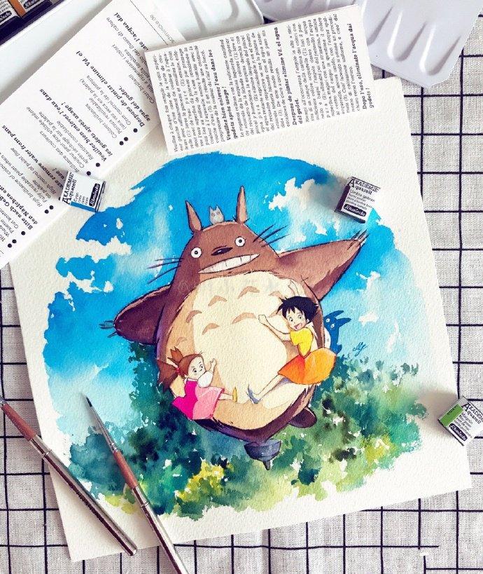 简单好看的水彩画教程,兔子与绣球花