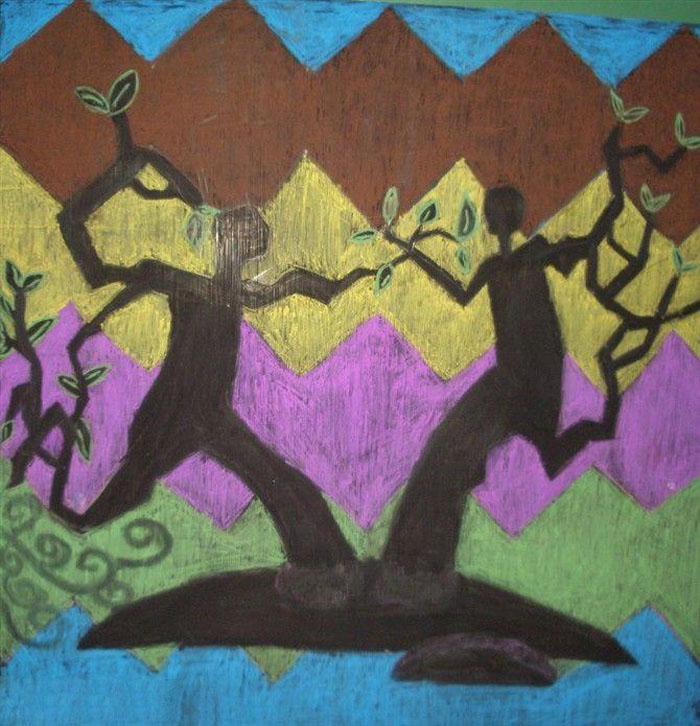 女孩浇树苗插画,植树节黑板报报插图