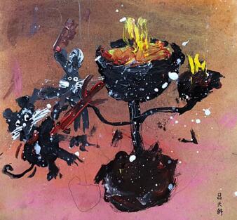 少儿创意美术作品图片,兔子的蘑菇屋
