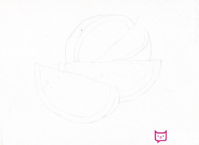 西瓜彩铅怎么画,夏日西瓜彩铅画教程图片