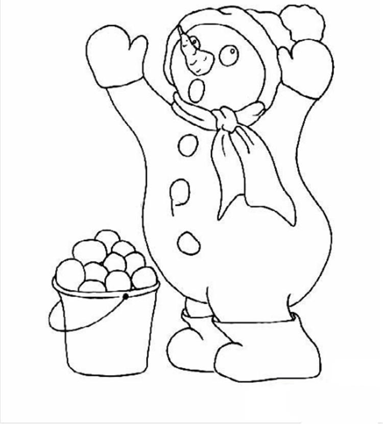 圣诞简笔画,拿着扫帚的雪人简笔画