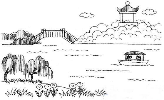 好看的风景简笔画图片,可爱的石头房子