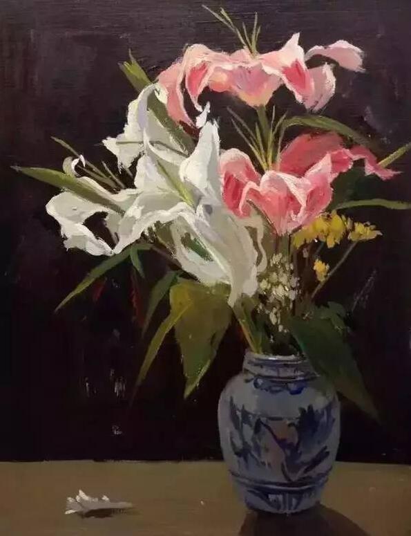 水粉静物图片,陶瓷花瓶和玻璃花瓶的画法