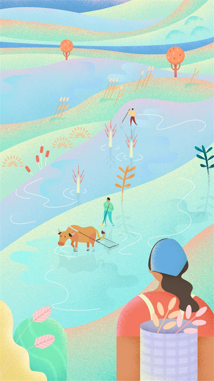 芒种节气插画:农民伯伯硕果累累的收获