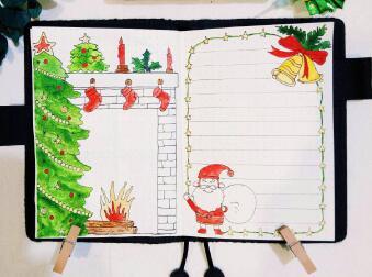 2018年圣诞节手抄报版面设计图,圣诞快乐