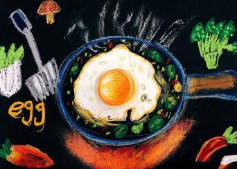 儿童创意美术绘画作品图片,鸡蛋花树上的孔雀