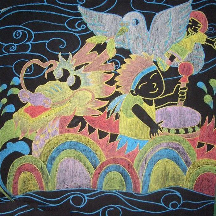 漂亮的黑板报粉笔画插图(风景类)
