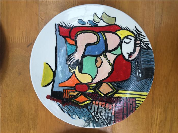 好看的盘子装饰画花,盘子画装饰画花鸟山水