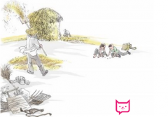 24节气插画:芒种麦田星空