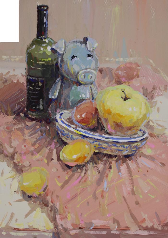 美术小联考水粉静物图片,水果盘