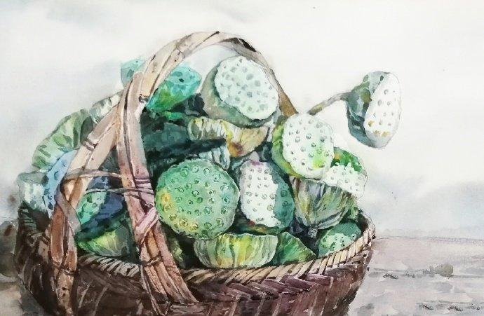 简单唯美的夏日水彩画教程,一篮葡萄