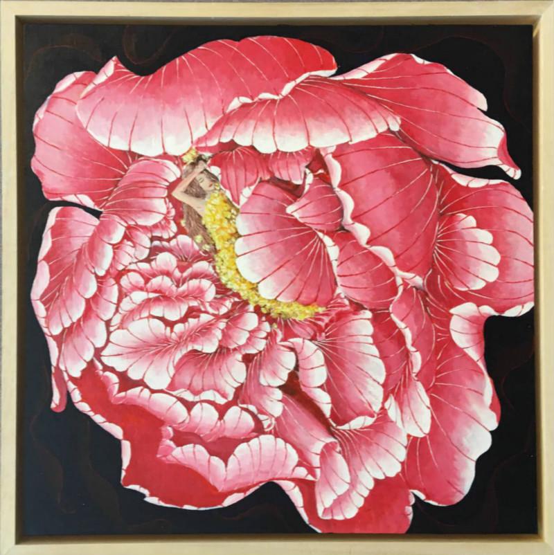 迎春花的少女花卉图案装饰,客厅装饰画