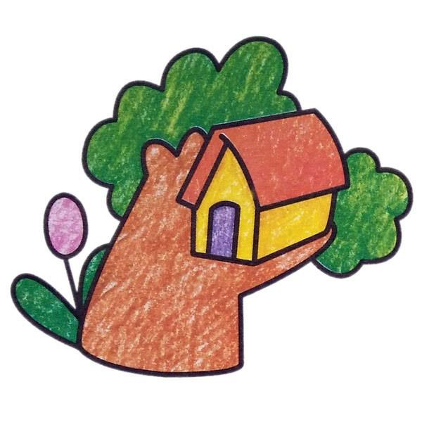 简单的风景简笔画图片,林中小屋简笔画