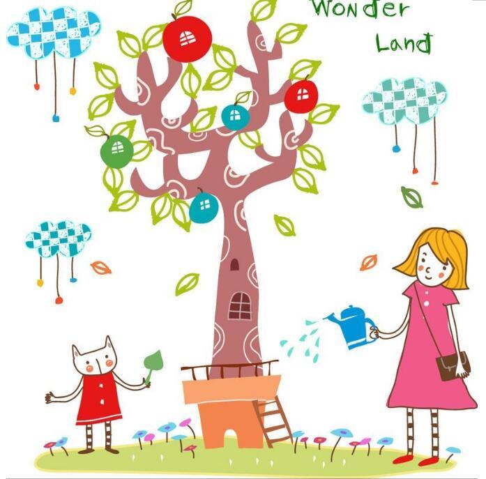 儿童植树插画,植树节黑板报插图