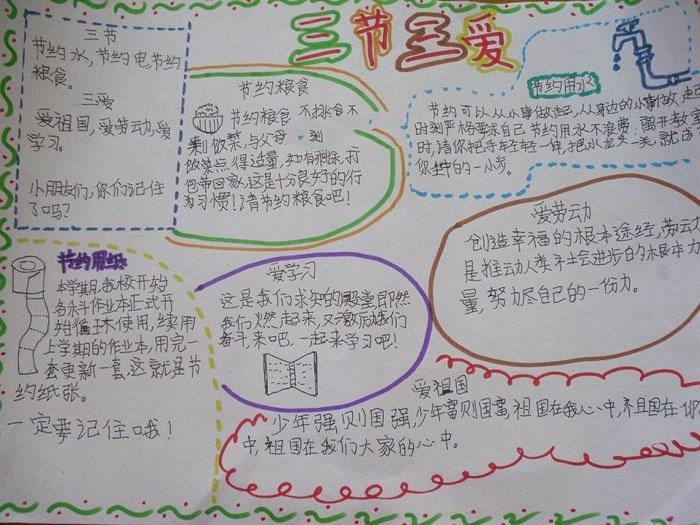 小学生三爱三节手抄报设计