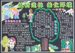 人载一棵树满城添春色植树节黑板报