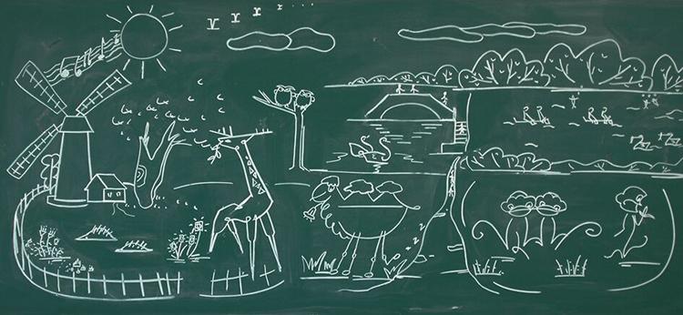 小学生黑板报简单又漂亮,动物乐园