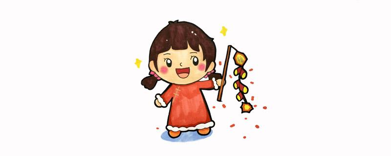 春节小孩放鞭炮简笔画,新年小女孩放鞭炮简笔画